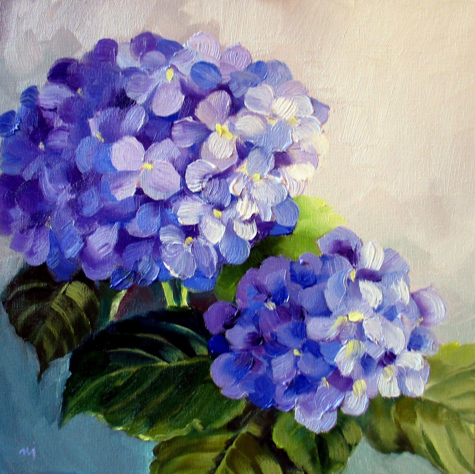 Nel S Everyday Painting Saturday Hydrangea Sold Acrylic Painting Flowers Hydrangeas Art Hydrangea Painting
