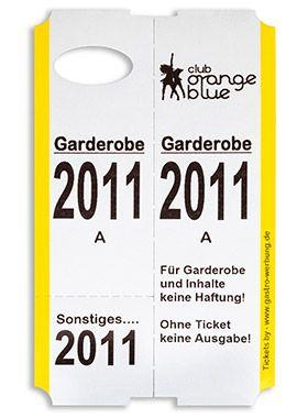 Gastro Werbung Simbeck Garderobenmarken Garderobenticket Garderobennummer Garderobenzettel Garderobe Zettel Online