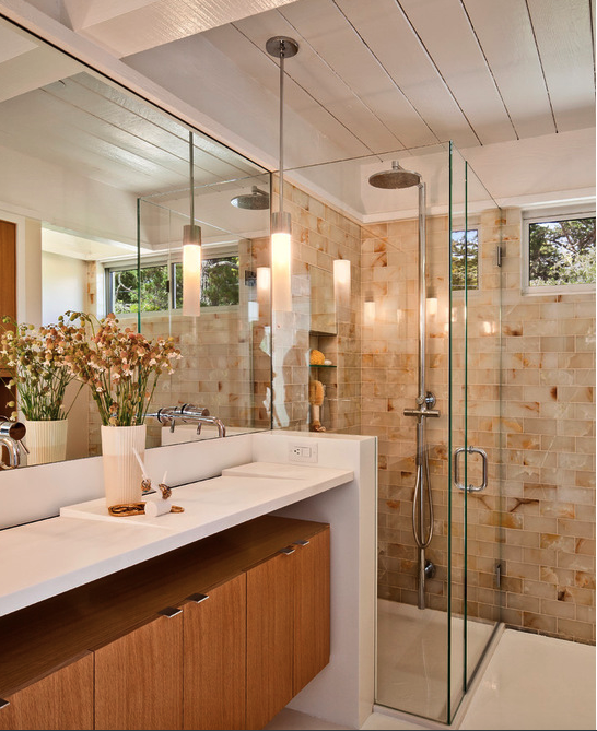 Shower Next To Vanity Mid Century Modern Bathroom Modern Bathroom Design Apartment Renovation