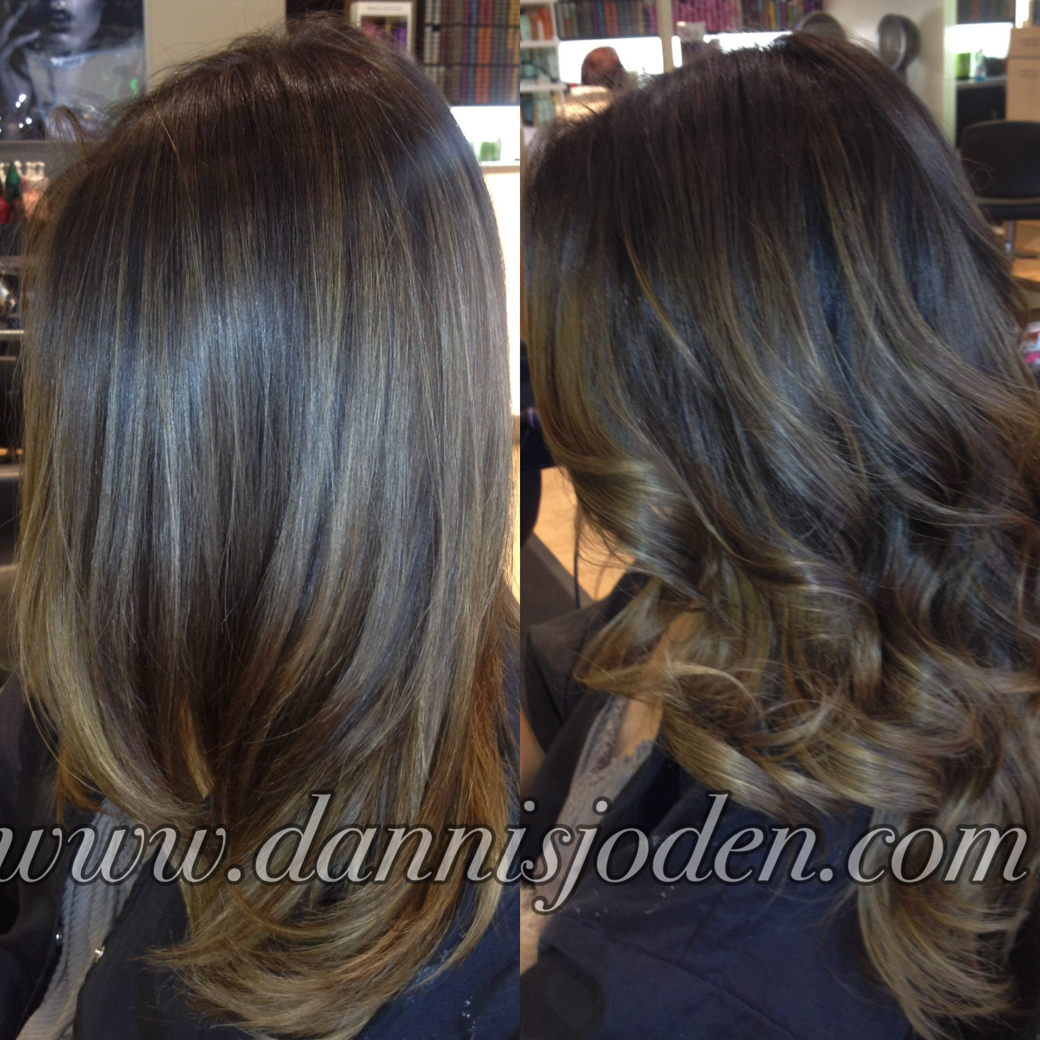 straight vs curly balayage melt. hair by danni in denver , co | your