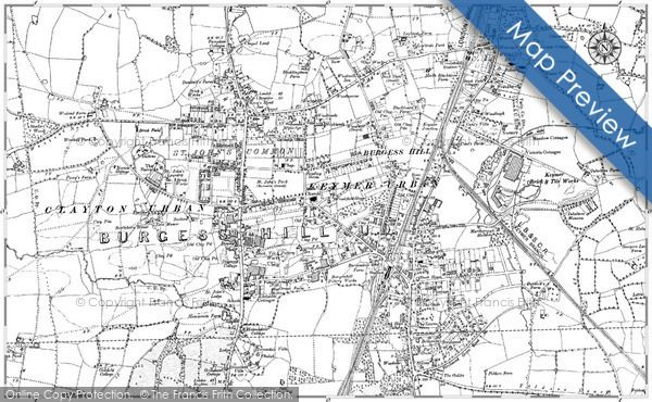 Burgess Hill Map Burgess Hill, 1896   1897, published by the Ordnance Survey in  Burgess Hill Map