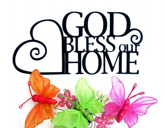 God Bless Our Home Metal Sign | Heart | Religious Decor | God Bless ...