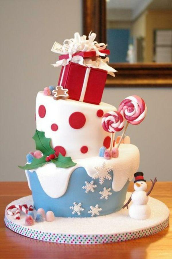 Weihnachtstorte mit einem Schneeman und Lutscher | Geschenkideen ...