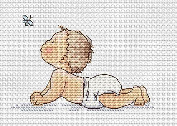 Photo of Birth Record Cross Stitch Pattern PDF Instant Download Baby Cross Stitch Cute Cross Stitch Butterfly Cross Stitch  Modern Xstitch