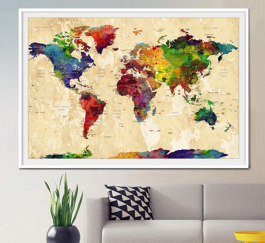 WORLD MAP, Large World Map, Watercolor World Map, World Map Art ...