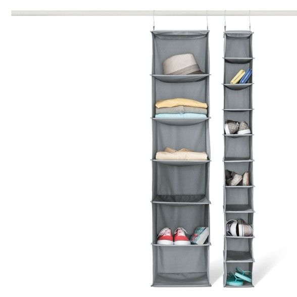 6 Shelf Hanging Closet Organizer Gray Room Essentials Hanging Closet Organizer Hanging Shoe Storage Hanging Closet