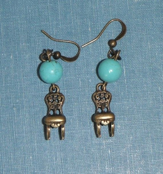Turquoise Brass Chair Earrings Gift French Hook Under 20 Etsy Earrings Brass Chair Earring Gifts