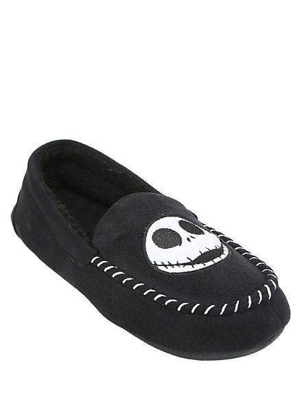 e20e4c58f91 Nightmare Before Christmas JACK SKELLINGTON Moccasin Slippers MENS House  Shoes  Disney