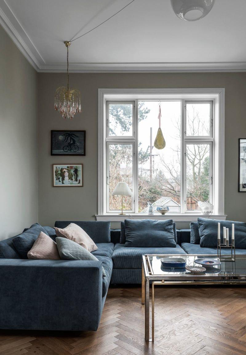 16 Wohnzimmer blaue couch