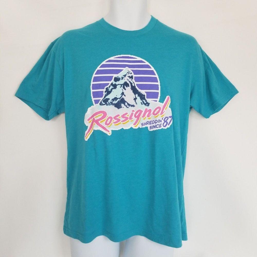 d5838817fa19b Rossignol T-Shirt Tee Large Aqua Retro Vintage Shreddin Since 87 Short  Sleeve #Rossignol #GraphicTee #retro #vintage #shreddin #ski #snowboard