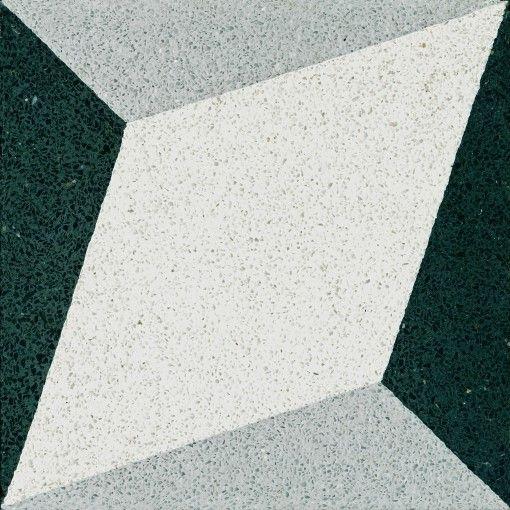 »Terrazzo-Platte Rautenornament Weiss« Von Replicata