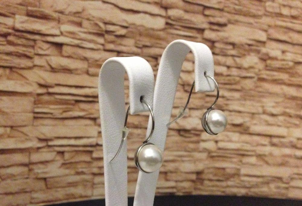 Ohrringe Ohrhänger Edelstahl mit Kunstperle