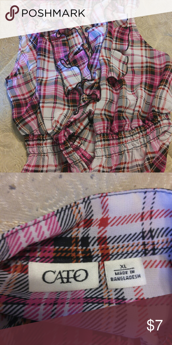 Pink plaid shirt Cato size XL sleeveless pink plaid blouse Cato Tops Blouses