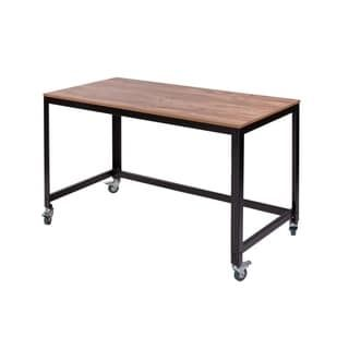 Onespace 50 Jn16dsk Black Steel And Wood Loft Writing Desk Classic Oak Classic Brown Wood Surface Black Office Furniture Furniture