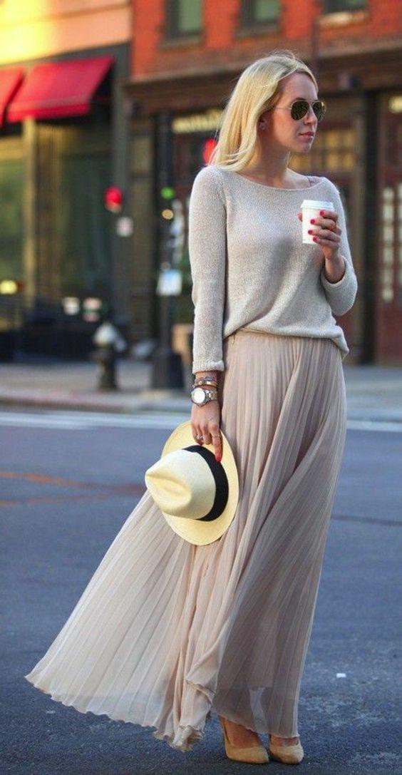81a68c83df57 Comment porter la jupe longue plissée  80 idées!