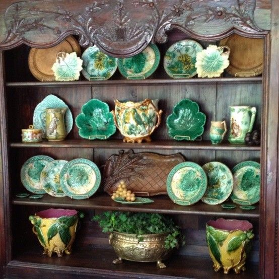 Collection Of Majolica Beautifully Displayed Majolica