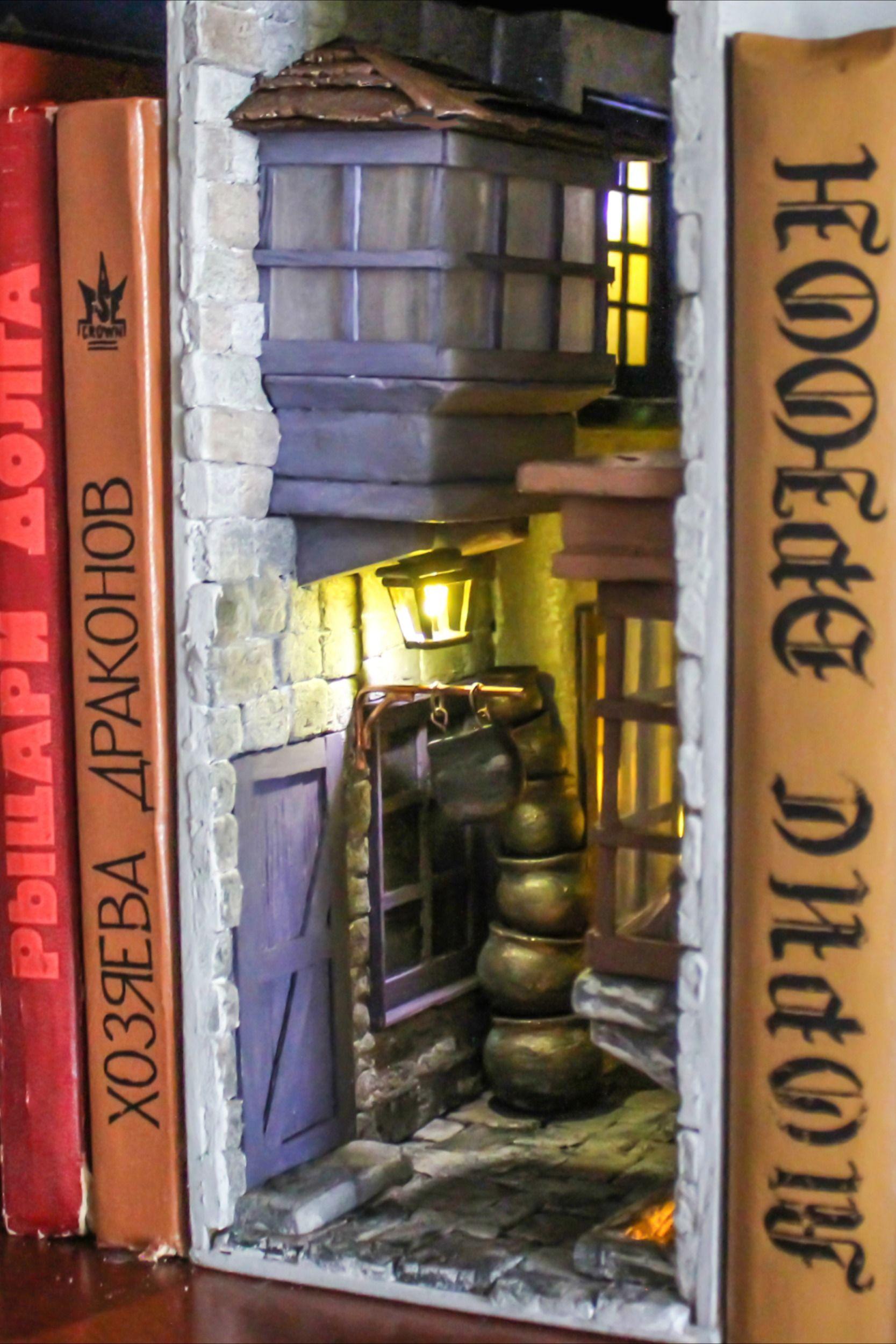 Book Nook Bookshelf Insert Harry Potter Diagon Alley Book End Etsy Book Nooks Harry Potter Room Decor Harry Potter Gifts Diy