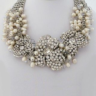 Badgley Mischka Bridal Jewelry.  Stunning.  Avant Garde.  Pearl & crystal bridal statement necklace.  Find your style at Perfect Details.