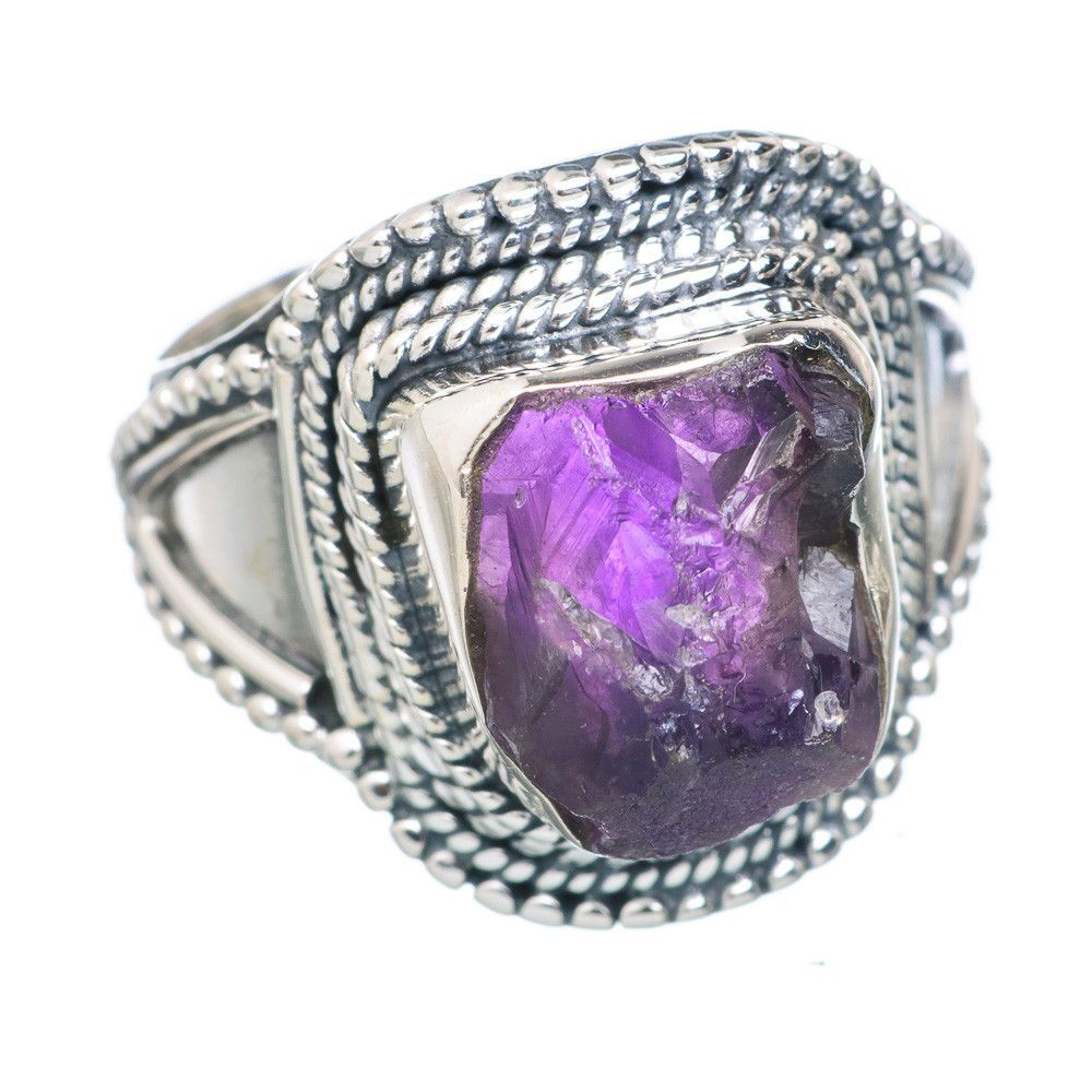Rough Amethyst 925 Sterling Silver Ring Size 7 RING717366