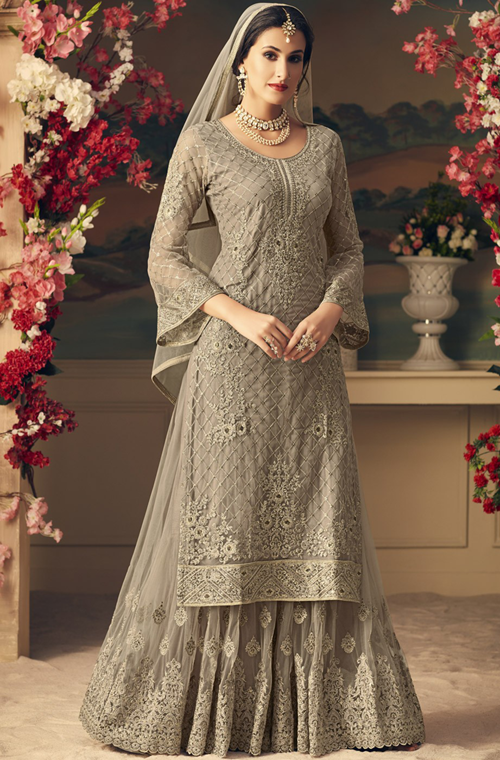 5ea06c5409 Gray Designer Heavy Embroidered Net Sharara Suit in 2019 | Indian ...