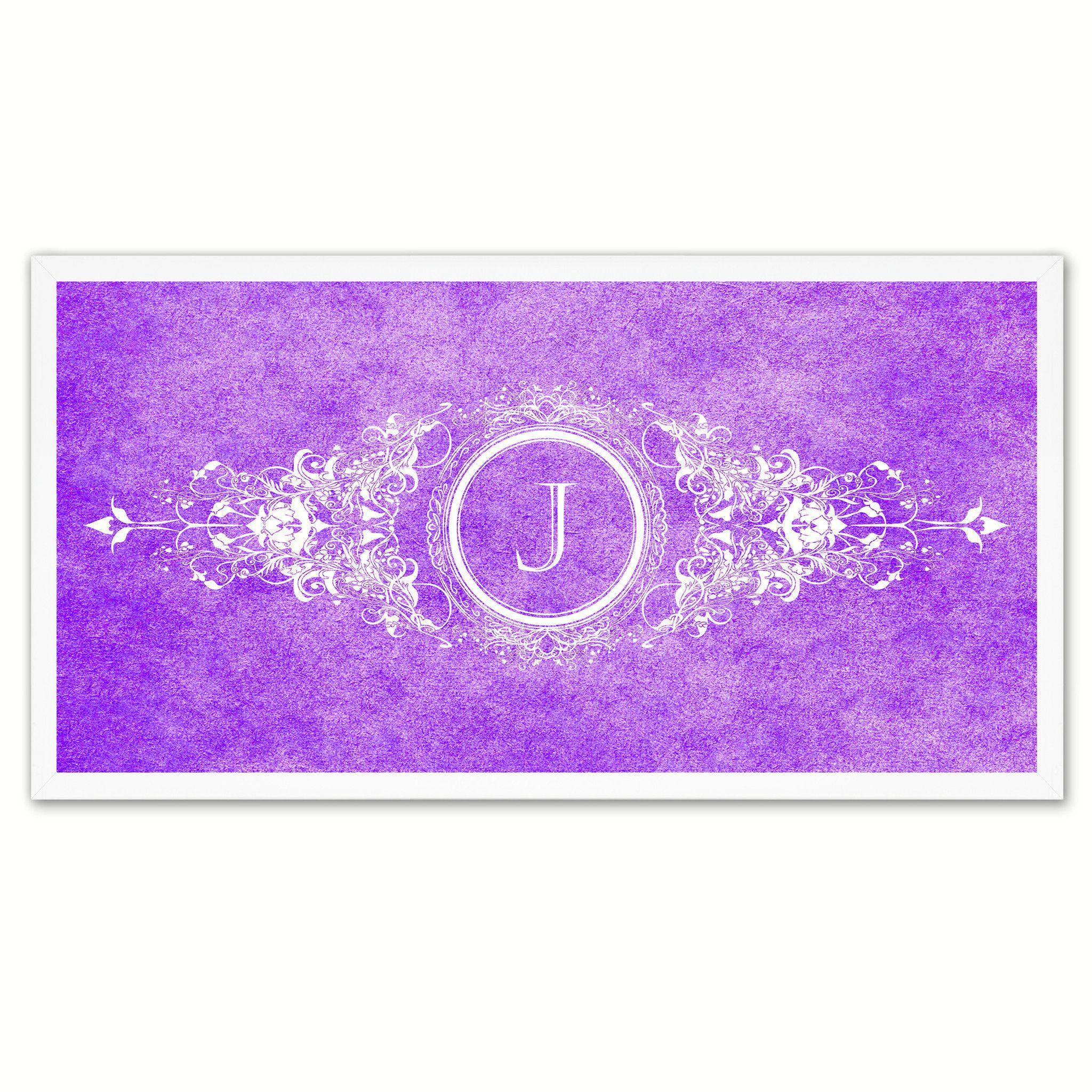 Alphabet Letter J Purple Canvas Print White Frame Kids Bedroom ...