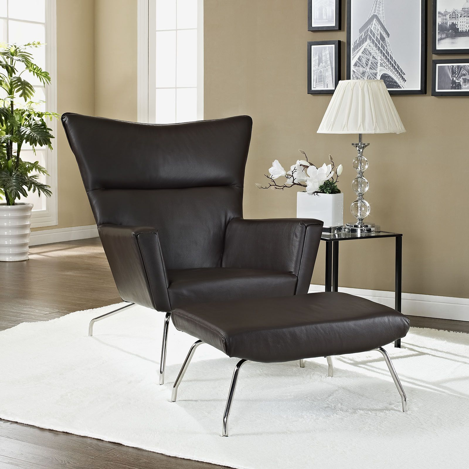 Hans Wegner Wing Chair U0026 Ottoman Reproduction   Leather