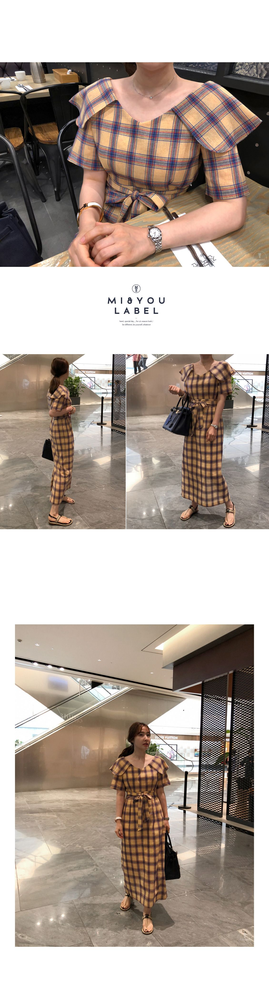 Tiewaist check dress miamasvin loves u womens clothing korean
