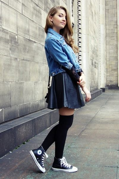 8fef50f9d138e -cute Jean jacket, black leather skirt, black over the knee high socks,  black hightop Converse Chuck Taylors outfit-