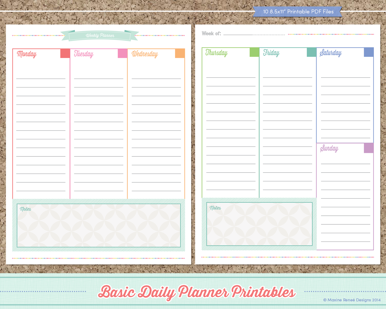 Daily Calendar Design : Maxine renee designs free basic planner printables