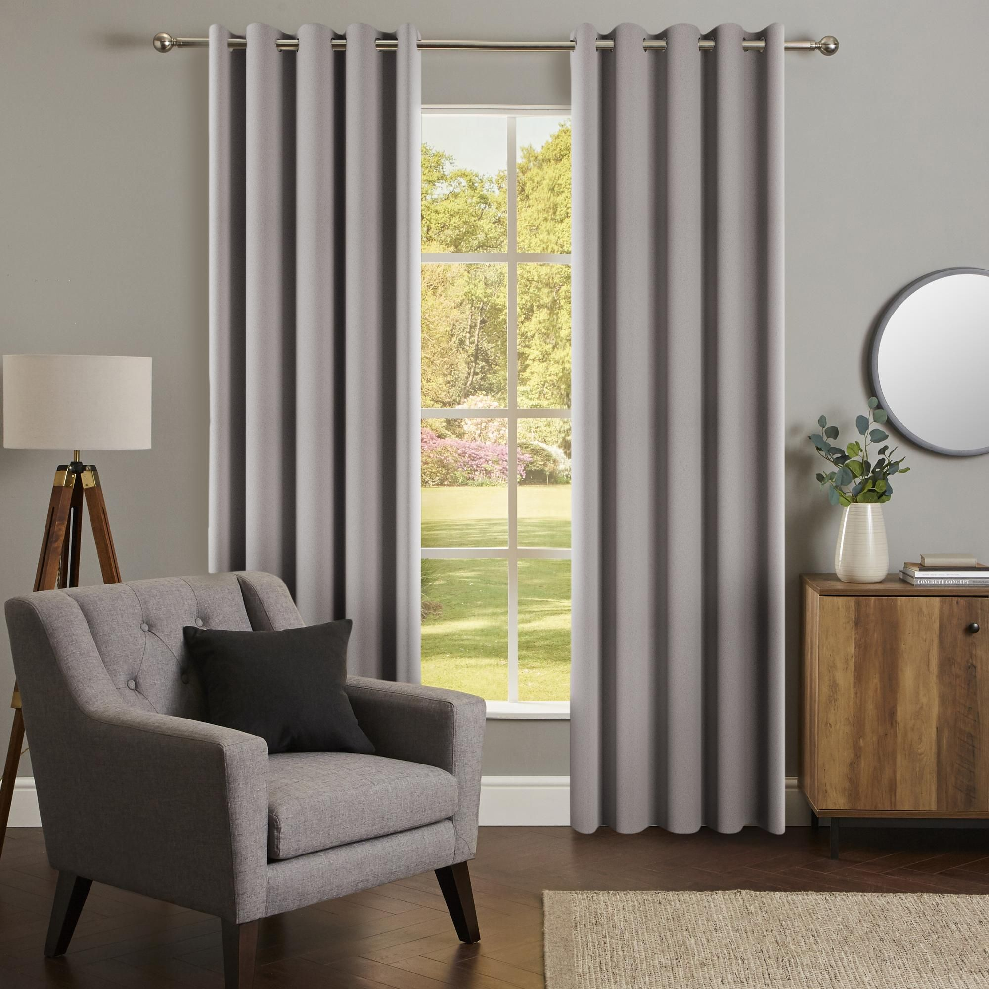 Chicago Silver Jacquard Blackout Eyelet Curtains In 2020