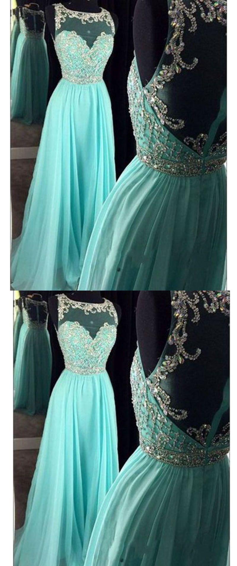 New scoop neck a line ice blue rhinestone prom dresses long pl