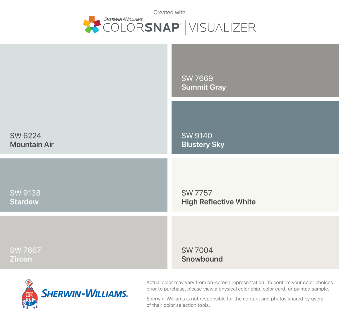 My 2018 farmhouse colors by sherwin williams mountain air - Best foyer colors 2018 ...