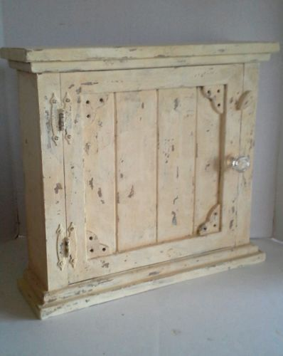 Primitive French Country Farmhouse Aged Wood Distressed Shabby Chic Spice/Medicine  Cabinet. It Is