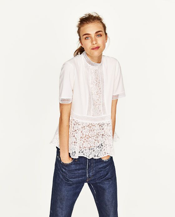 a22f341d Image 2 of CONTRAST LACE TOP from Zara | Fashion in 2019 | Lace tops ...