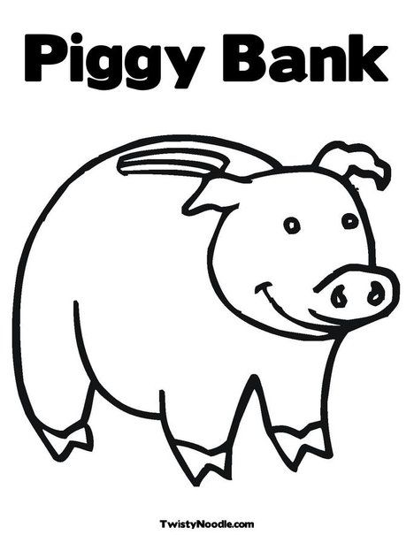 Piggy Bank Coloring Page Coloring Pages Kindergarten Activities