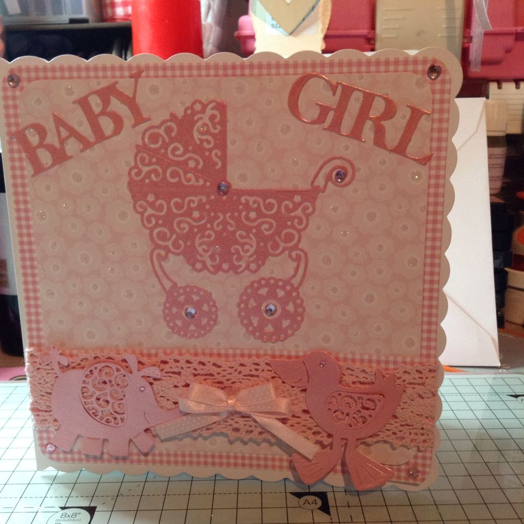 Baby Girl Card Making Ideas Part - 40: Tattered Lace Baby Girl Card Using Pram Die And Little Monsters Dies U0026 Baby  Sentiments U0026