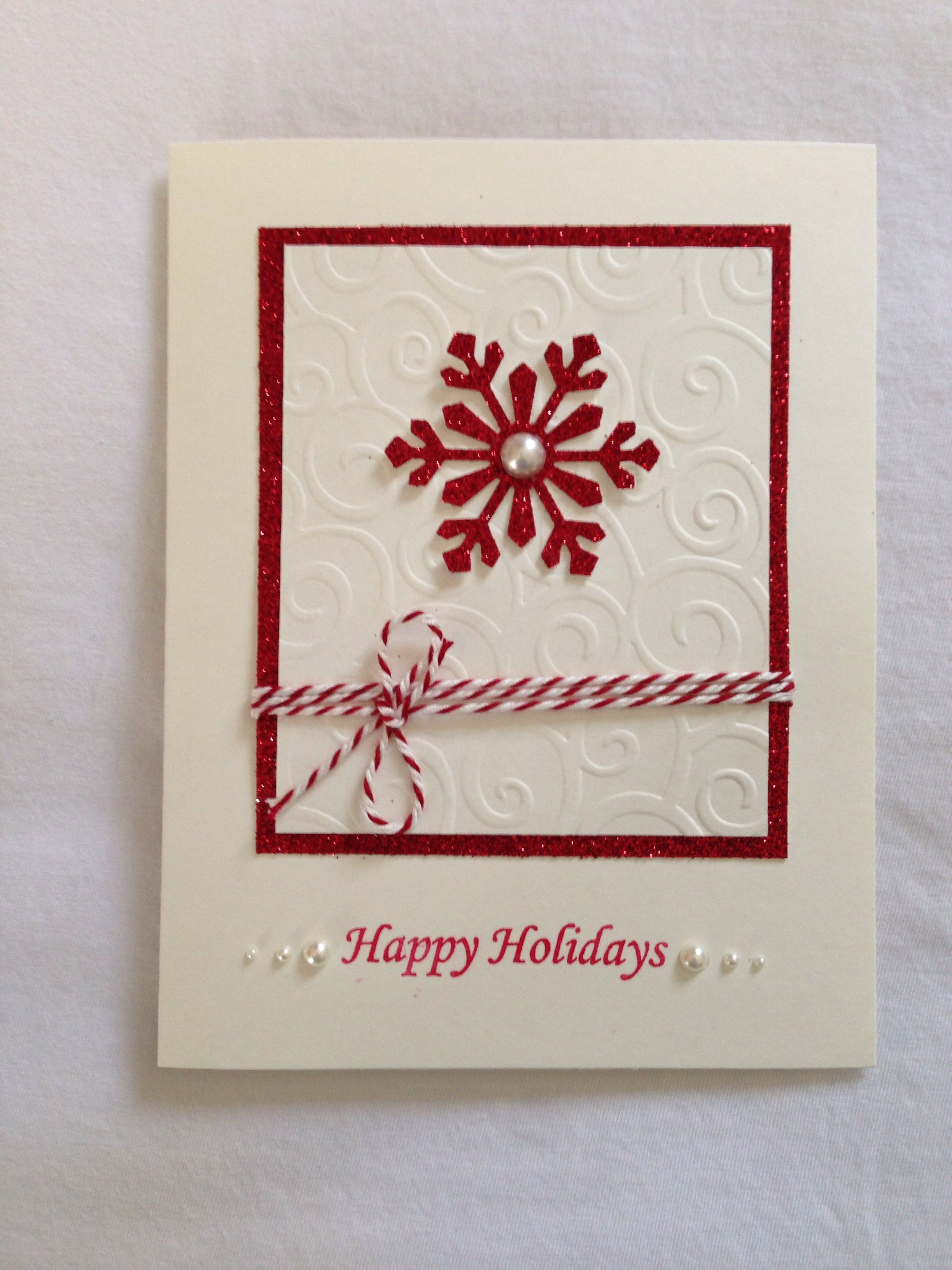 Christmas Hand Made Card Snowflake Red Glitters Merry Christmas