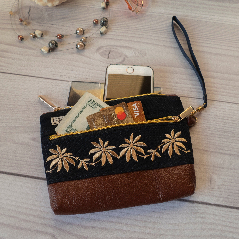 wallet Wristlet zipper bag makeup bag wristlet bag iPhone bag