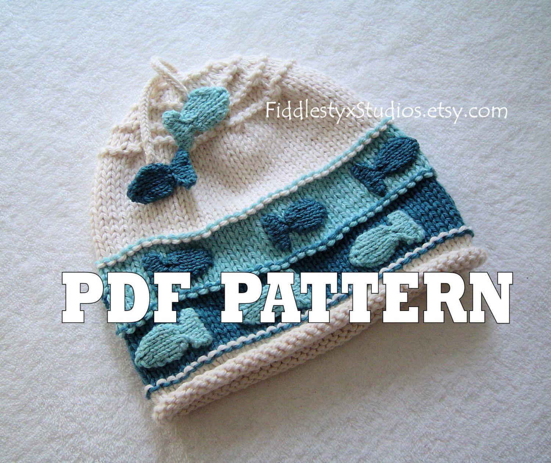KNITTING PATTERN - Baby Boy Hat PATTERN - Fish Beanie Hat (Newborn ...
