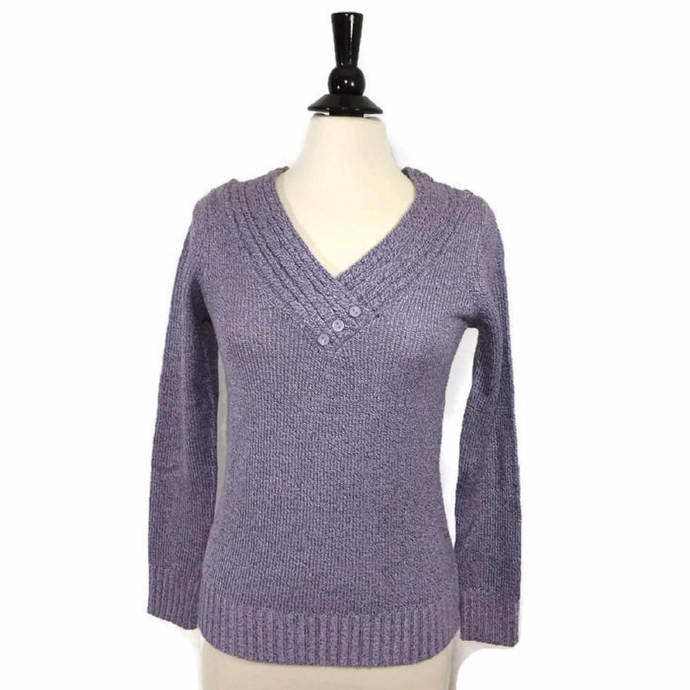 NEW KIM ROGERS Size S SMALL V-Neck Marled Pullover Sweater Wisteria Womens NWT #KimRogers #Sweater #Casual