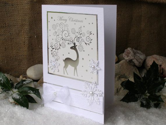Reindeer Card 8 x 6  Christmas Card White Silver by 4SeasonCards