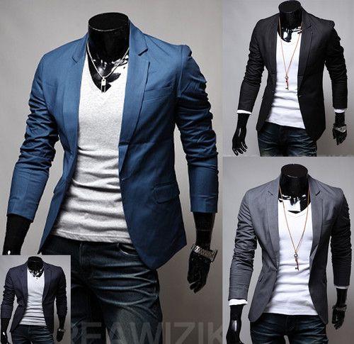 Details about Mens Casual & Dress Slim Fit One Button Blazer Suit ...