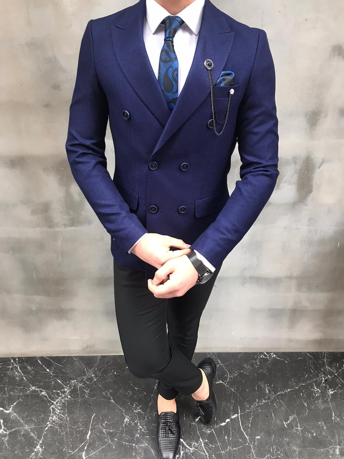 Fremont blue slim fit double breasted blazer in 2020