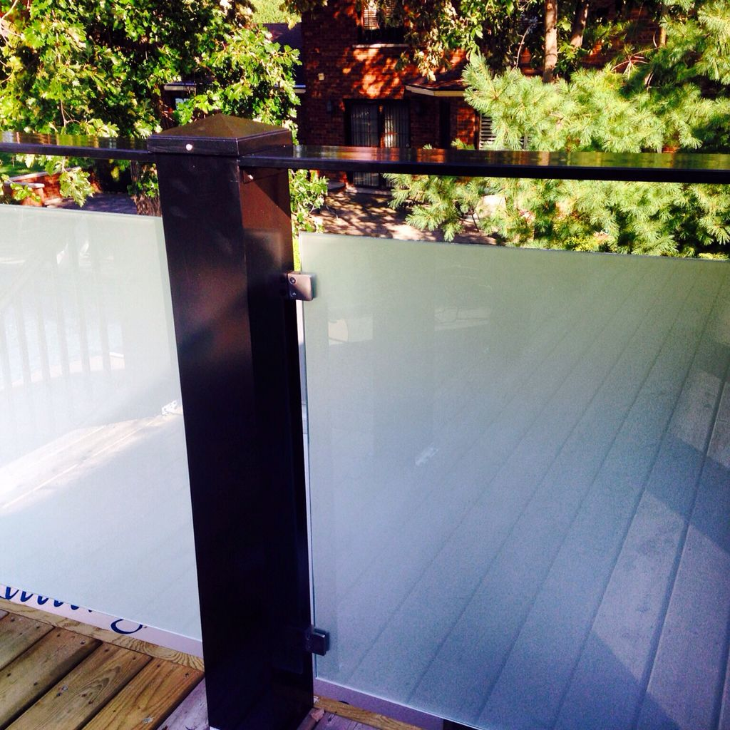 Bar top frosted glass railing by Cpl Aluminum Railings ...