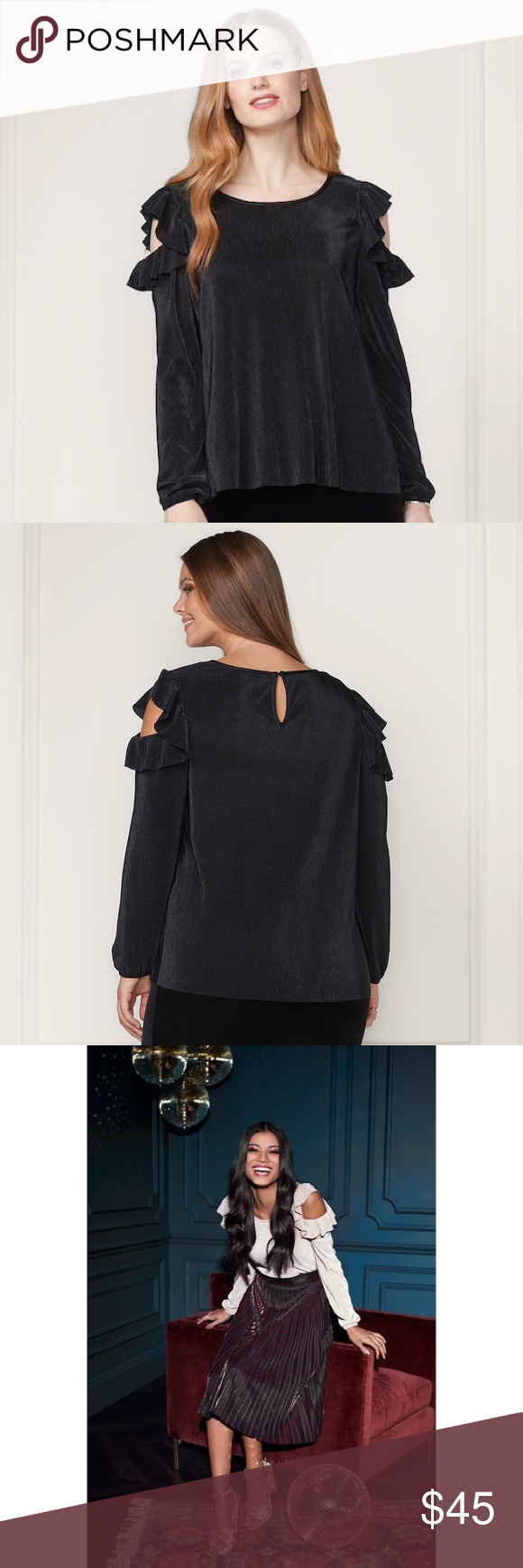 3f334cd34 LC Lauren Conrad Black Pleated Cold Shoulder Top S Modern femininity  abounds in this women's black