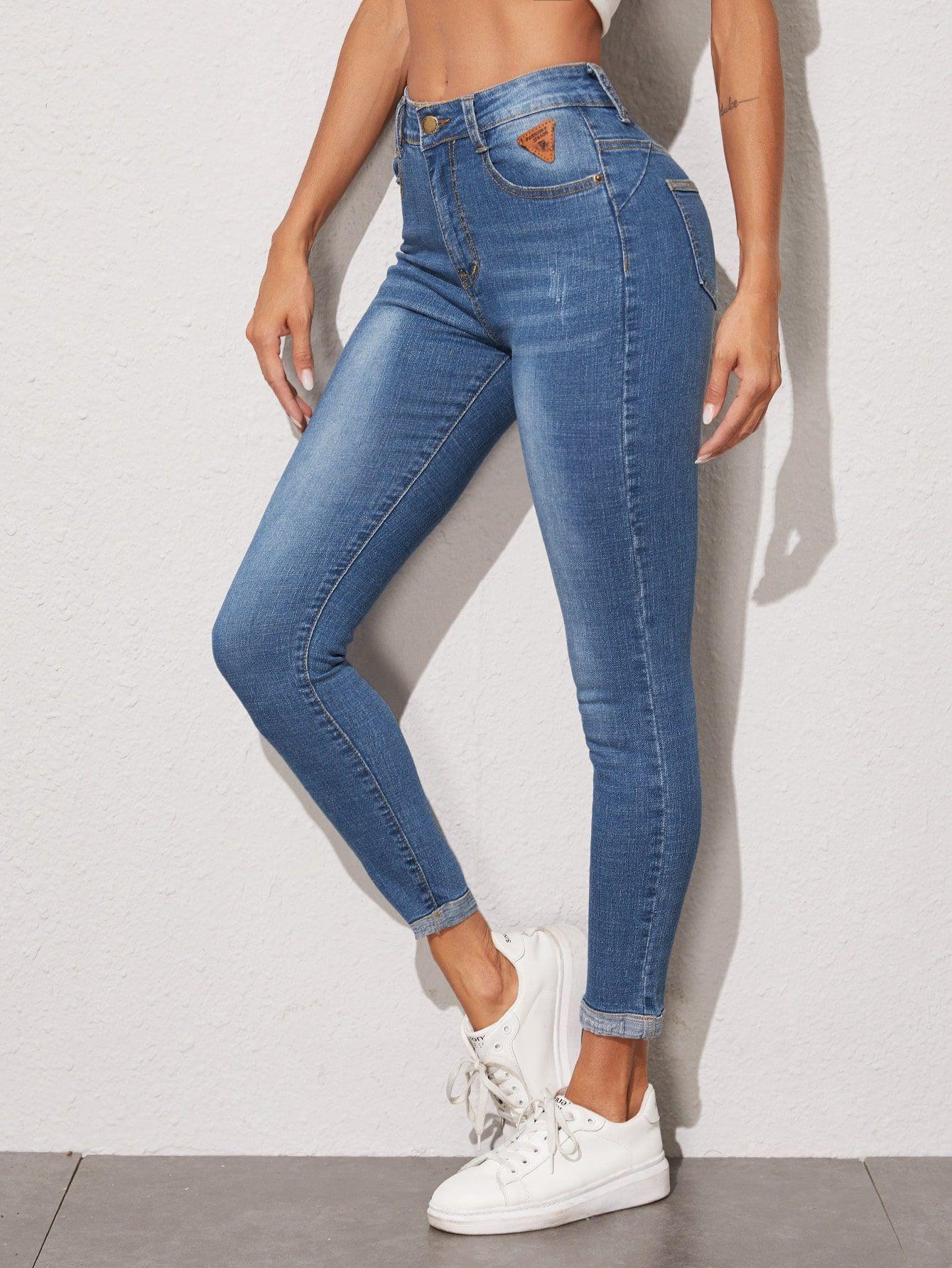 Roll Hem Patched Detail Skinny Jeans Romwe Vaqueros Pitillo Pantalones Vaqueros Rotos Atuendos De Moda Para Mujer