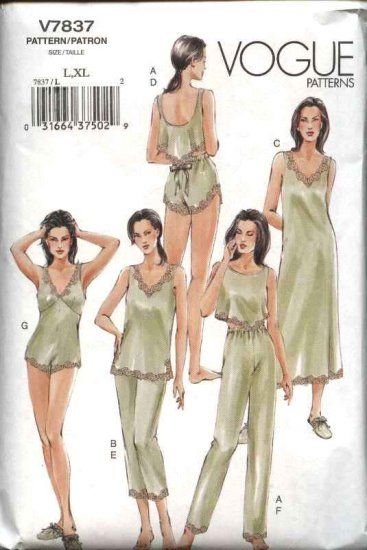 18a294585e Vogue Sewing Pattern 7837 Misses Size 16-22 Lingerie Camisole Shorts Teddy  Top Nightgown Pants