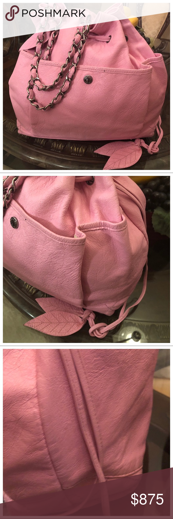 a12aa891bb9234 Authentic Chanel Bag listing #1 Pink Chanel. Has a draw string cinch to
