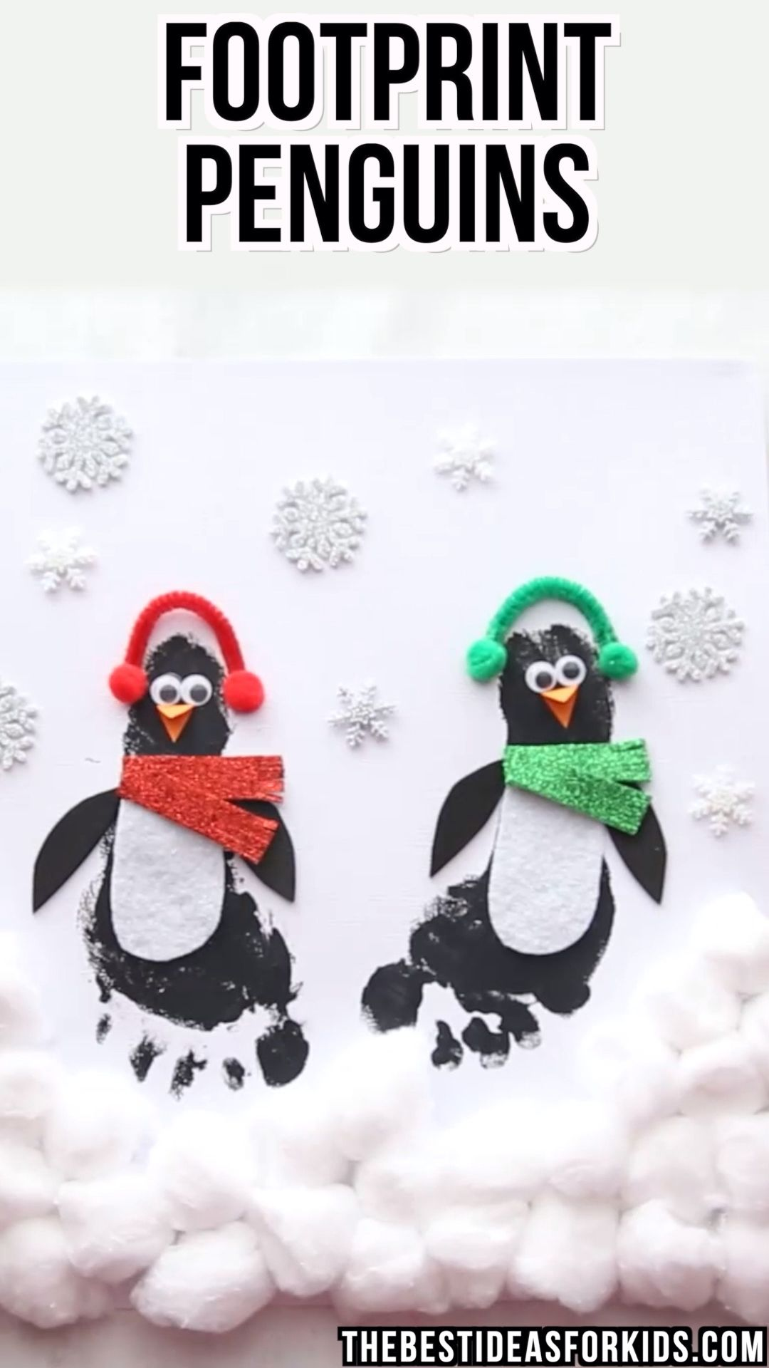 Footprint Penguins  - these are too cute! An adorable winter craft for kids. #bestideasforkids