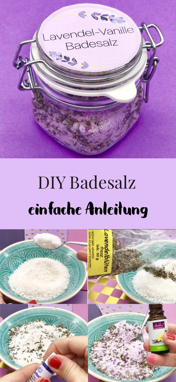 Lavendel Badesalz selber machen - Rezept und Anleitung mit Video